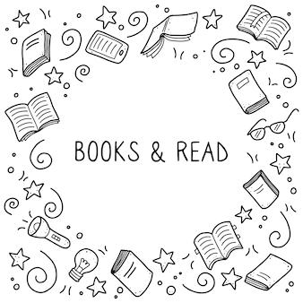 Zestaw elementów doodle wyciągnąć rękę książki