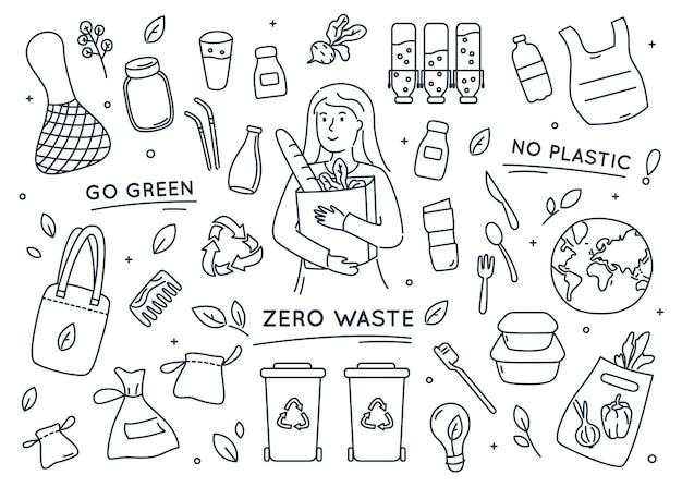 Zestaw elementów doodle zero waste