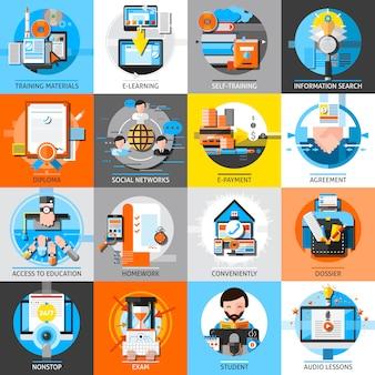 Zestaw elementów edukacji online płaski kolor