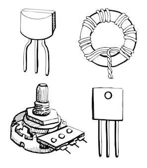 Zestaw elementów elektronicznych: potencjometr, tranzystor, cewka indukcyjna na białym tle. ilustracja wektorowa w stylu szkicu.