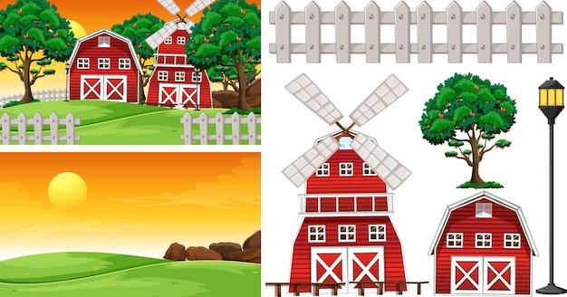 Zestaw elementów farmy z krajobrazem farmy