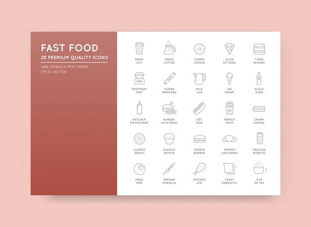 Zestaw elementów fast food vector ikony i sprzęt jako ilustracja może służyć jako logo lub ikona w najwyższej jakości