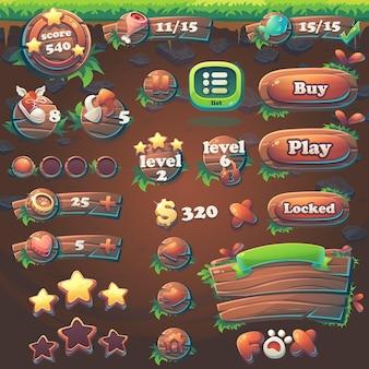 Zestaw elementów feed the fox gui match 3 do internetowej gry wideo