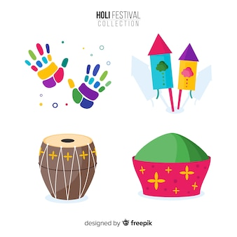 Zestaw elementów festiwalu kolorowe holi