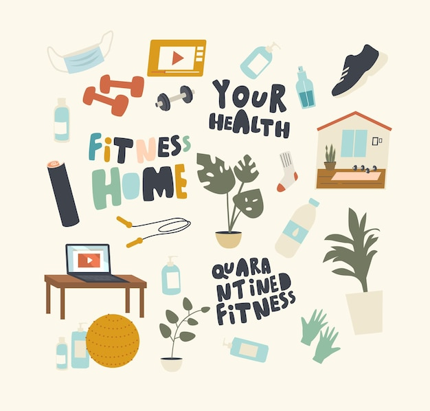 Zestaw elementów fitness na temat kwarantanny