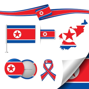 Zestaw elementów flagi z koreą północną
