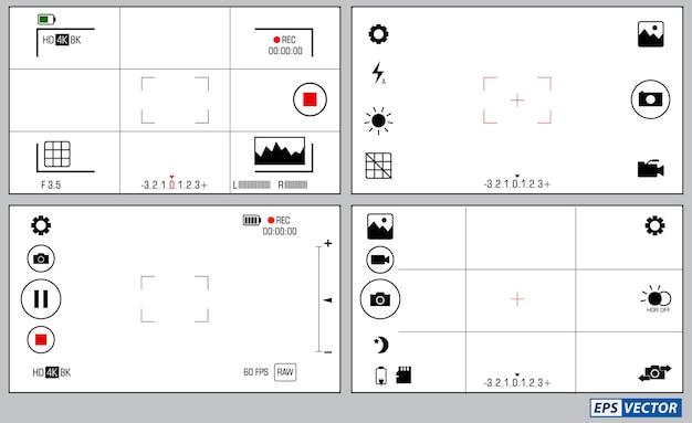 Zestaw elementów fotografii telefonu komórkowego na białym tle wektor eps