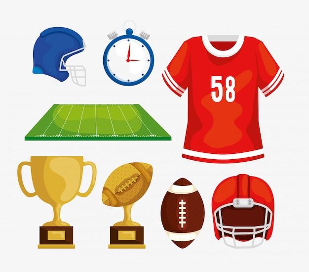 Zestaw elementów futbolu amerykańskiego