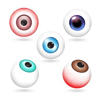 Zestaw elementów gałki ocznej, realistyczny styl