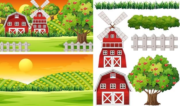Zestaw elementów gospodarstwa izolowanego ze sceną gospodarstwa