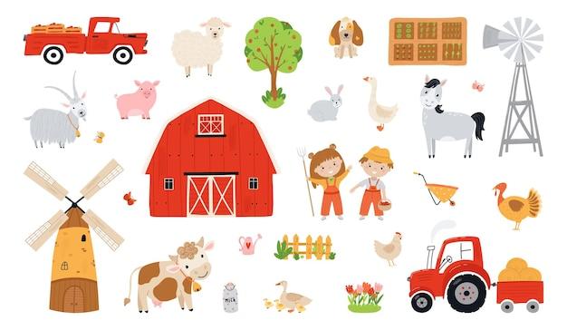 Zestaw elementów gospodarstwa. kolekcja zwierząt gospodarskich w stylu płaski. dzieci rolnicy zbierają plony. ilustracja ze zwierzętami, dziećmi, młynem, odbiorem, stodołą, ciągnikiem na białym tle. wektor