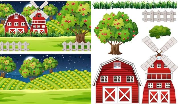 Zestaw elementów gospodarstwa na białym tle z scence gospodarstwa
