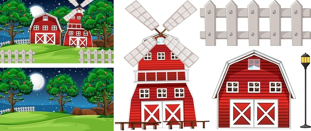 Zestaw elementów gospodarstwa na białym tle ze sceną gospodarstwa