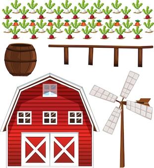 Zestaw elementów gospodarstwa na białym tle