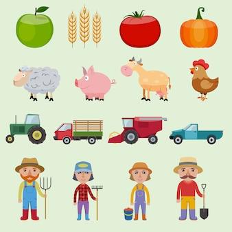 Zestaw elementów gospodarstwa, owoców, warzyw, zwierząt, pojazdów i postaci