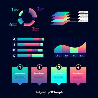Zestaw elementów gradientowych infographic