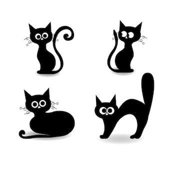 Zestaw elementów halloween, czarny kot na zestaw halloween, sylwetka kota. ilustracja wektorowa