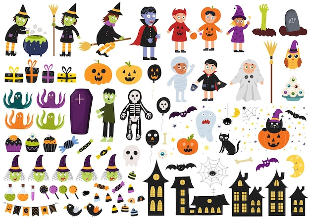 Zestaw elementów halloween duża kolekcja z dziećmi czarownic w kostiumach wampira zombie
