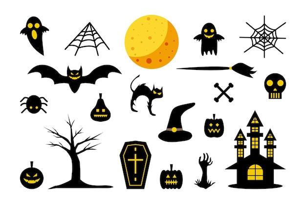 Zestaw elementów halloween horror upiorna przerażająca sylwetka ilustracja kreskówka
