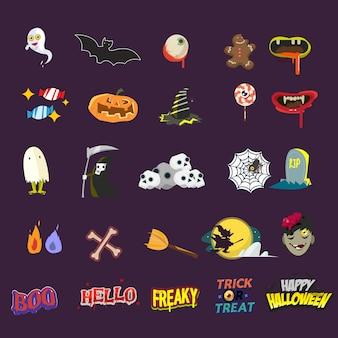 Zestaw elementów halloween. naklejka.