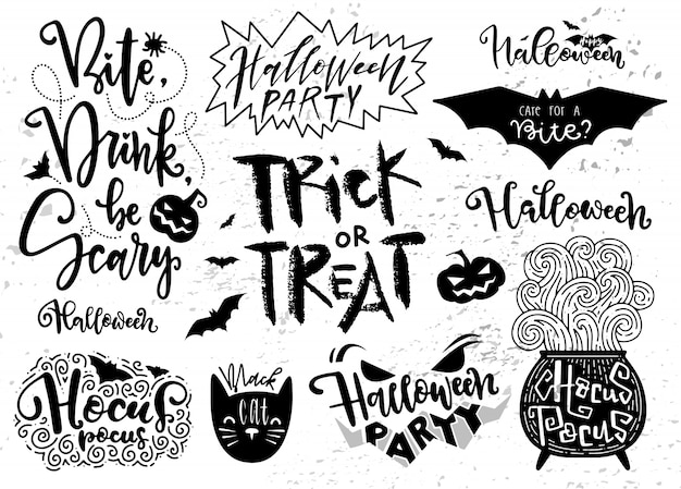 Zestaw elementów halloween, symbole i skrypty