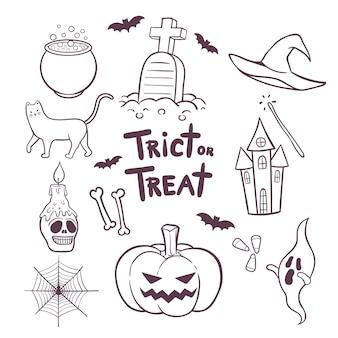 Zestaw elementów halloween wyciągnąć rękę doodles