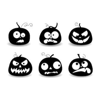Zestaw elementów halloween, zestaw dyni, sylwetka dyni, ilustracji wektorowych