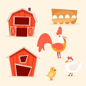 Zestaw elementów hodowli kurczaków w stylu kreskówkowym,