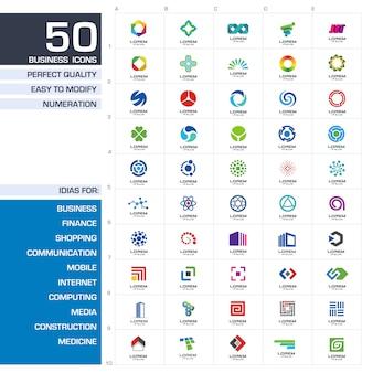 Zestaw elementów ikon. abstrakcyjne pomysły dla firmy biznesowej. finanse, komunikacja, ekologia, technologia, nauka i pojęcia medyczne. piktogramy dla szablonu tożsamości korporacyjnej.