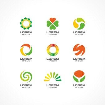 Zestaw elementów ikon. abstrakcyjne pomysły na logo dla firmy biznesowej. eko, opieka zdrowotna, spa, kosmetyki i koncepcje medyczne. piktogramy dla szablonu tożsamości korporacyjnej. stockowa ilustracja