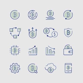 Zestaw elementów ikon kryptowalut