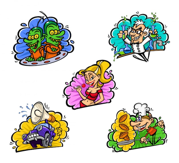 Zestaw elementów ilustracji wektorowych w komiksowym stylu kreskówki.