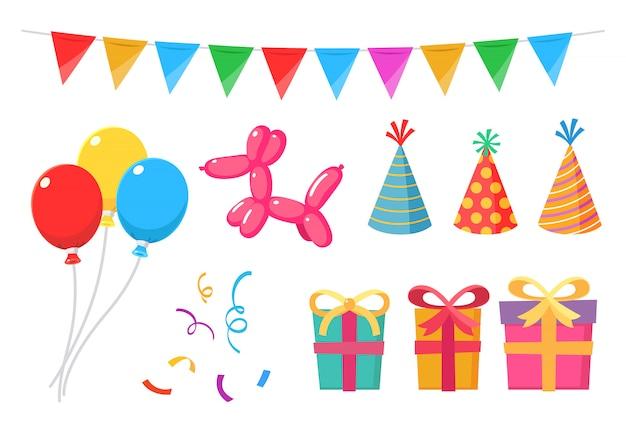 Zestaw elementów imprezowych z balonami