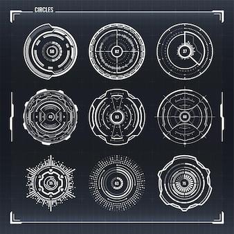 Zestaw elementów infografiki dla interfejsów hud sci fi