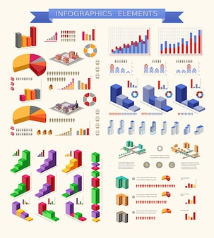 Zestaw elementów infografiki dla motywu miejskiego i przemysłowego
