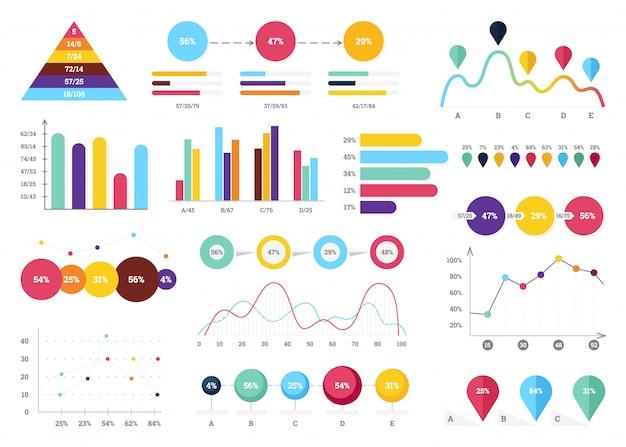 Zestaw elementów infografiki. paski informacyjne, wykresy.