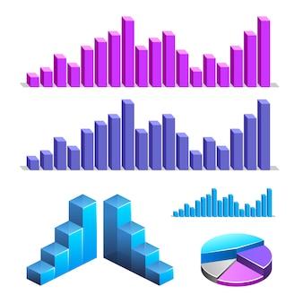 Zestaw elementów infografiki. wykres, schemat, statystyki, wykres.