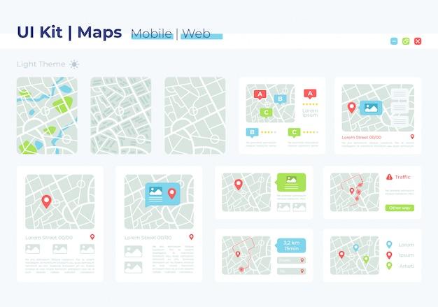 Zestaw elementów interfejsu mapy