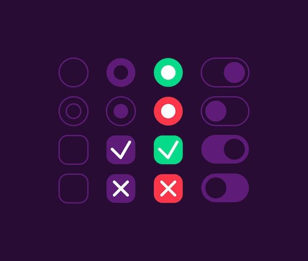 Zestaw elementów interfejsu przełączników opcji. naciśnij przycisk. ikona ustawień, pasek i szablon pulpitu nawigacyjnego. kolekcja widżetów internetowych dla aplikacji mobilnej z ciemnym interfejsem tematycznym