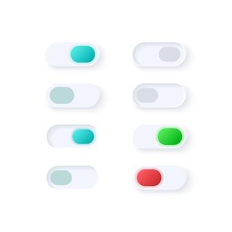 Zestaw elementów interfejsu użytkownika dla przełączników aktywnych i nieaktywnych. włącz ikonę przycisków, pasek i szablon deski rozdzielczej. kolekcja widżetów internetowych dla aplikacji mobilnej z lekkim interfejsem tematycznym