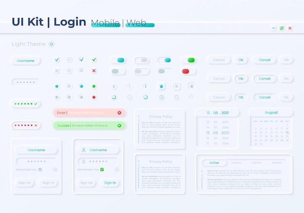 Zestaw elementów interfejsu użytkownika dostępu do konta prywatnego