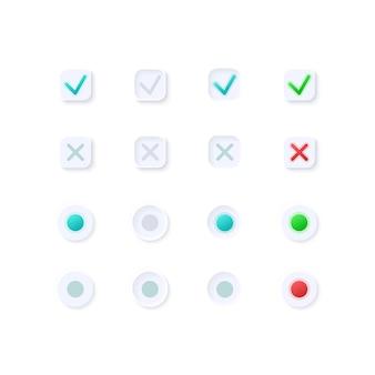 Zestaw elementów interfejsu użytkownika oznaczeń aktywnych i nieaktywnych