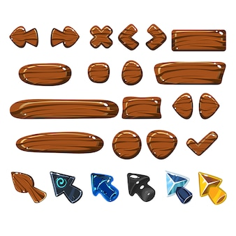 Zestaw elementów internetowych cartoon drewna