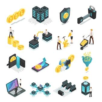 Zestaw elementów izometryczny blockchain