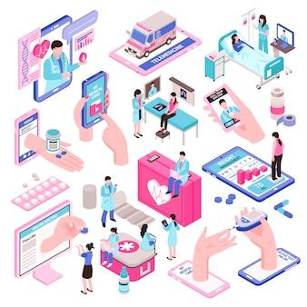 Zestaw elementów izometrycznych medycyny online i zdrowia cyfrowego