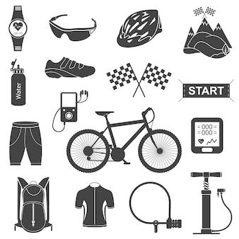 Zestaw elementów jazdy na rowerze na białym tle
