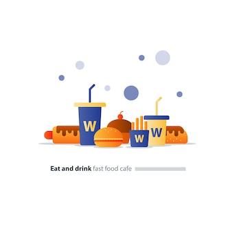 Zestaw elementów kawiarni fast food, ikony hot-dogów i burgerów, duże i małe napoje, jeść i pić
