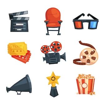 Zestaw elementów kinowych. narzędzia multimedialne i fotograficzne