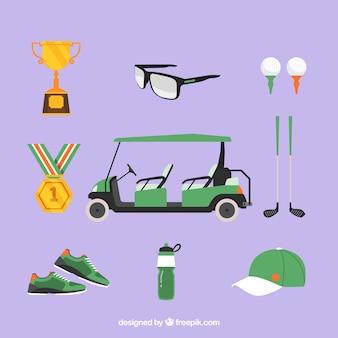 Zestaw elementów klubu golfowego w stylu płaski