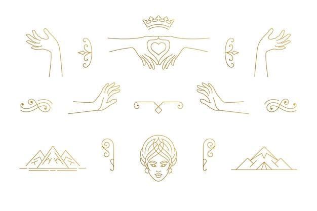 Zestaw elementów kobiecych dekoracji linii